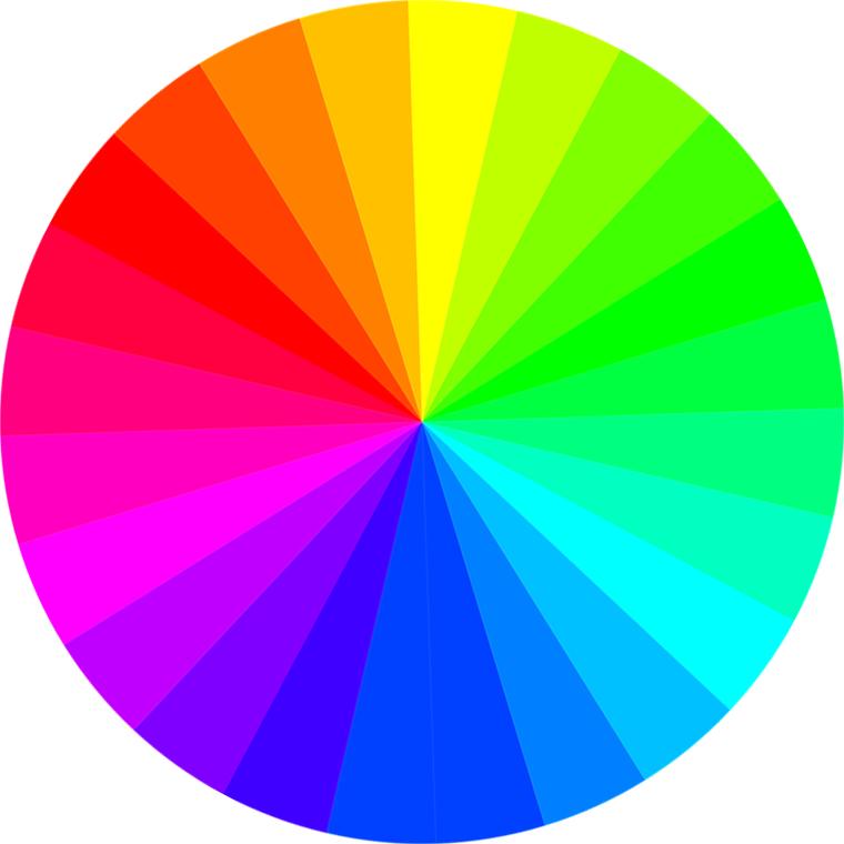 Las cuatro armonías cromáticas básicas para decorar como un experto. Círculo cromático.